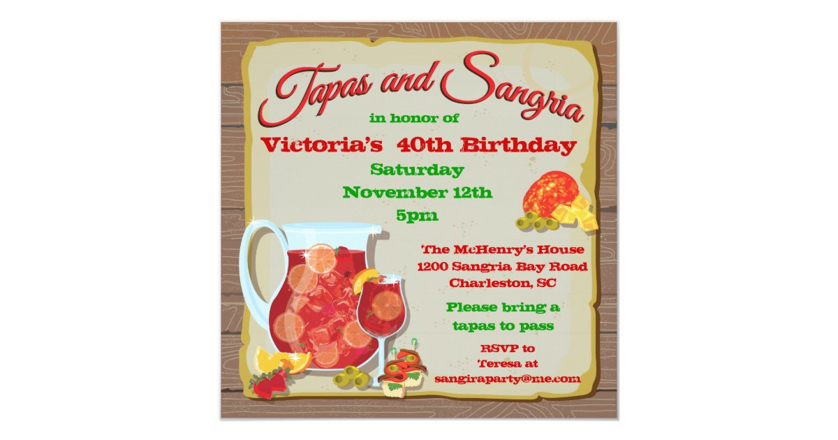 Sangria Wedding Invitations: Tapas And Sangria Party Invitations
