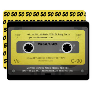Tape Cassette RETRO Invitation 50th 60th 70th ANY
