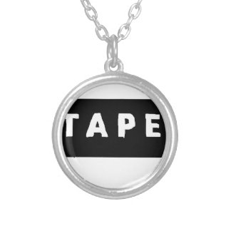 Tape logo silver plated necklace