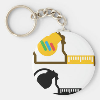 Tape measure basic round button key ring