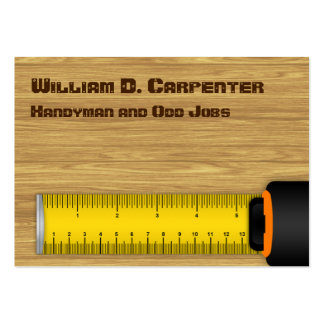Tape Measure on Wood Construction Business Card