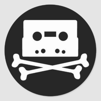 tape-n-bones round sticker