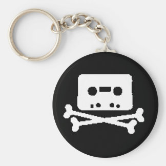 tape skull basic round button key ring
