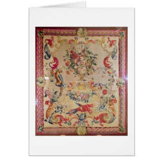 Tapestry in early Rococo style with strapwork and Card