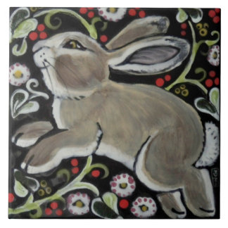 "Tapestry Style Christmas Rabbit 6"" Tile Trivet"