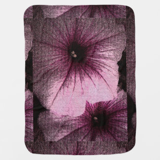 Tapestry Textured Pink and Black Petunias Baby Blanket