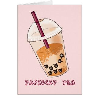 Tapiocat Tea Pun Illustration Card