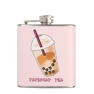 Tapiocat Tea Pun Illustration Hip Flask