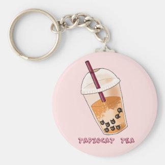 Tapiocat Tea Pun Illustration Key Ring