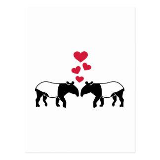 Tapir red hearts love postcard