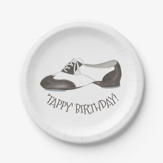 Tappy Happy Birthday Dance Teacher Tap Shoe Dancer Paper Plate