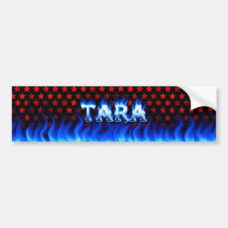 Tara blue fire and flames bumper sticker design.