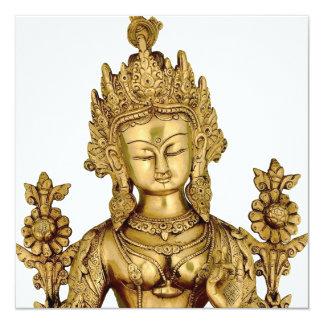 Tara Buddha Buddhist Goddess Yoga Tibet Art Peace 13 Cm X 13 Cm Square Invitation Card