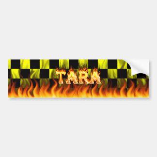 Tara real fire and flames bumper sticker design.