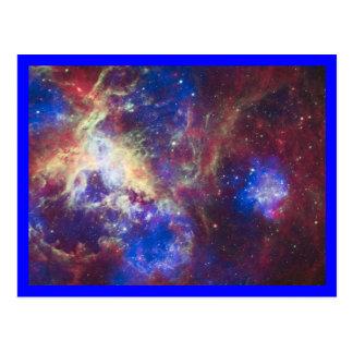 Tarantula Nebula Blue Border Postcard