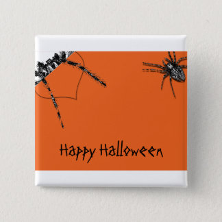 Tarantula Spider crawling on Halloween Orange 15 Cm Square Badge
