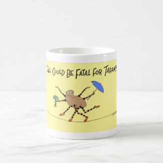 Tarantula spider walks the tight rope coffee mug