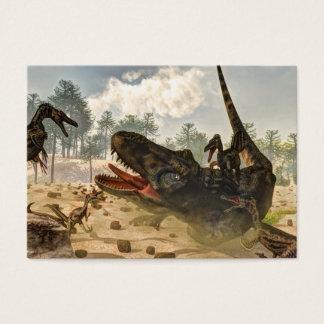Tarbosaurus attacked by velociraptors business card