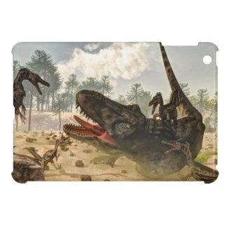 Tarbosaurus attacked by velociraptors cover for the iPad mini