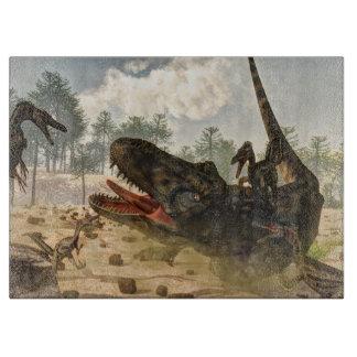 Tarbosaurus attacked by velociraptors cutting board