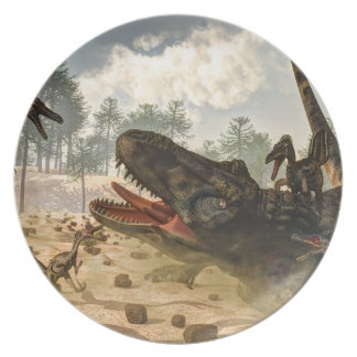 Tarbosaurus attacked by velociraptors party plates