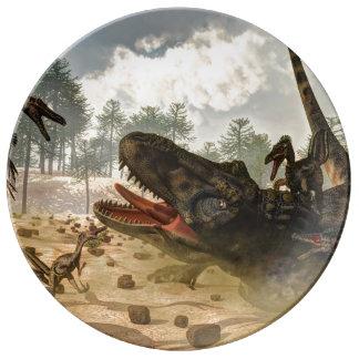 Tarbosaurus attacked by velociraptors porcelain plates