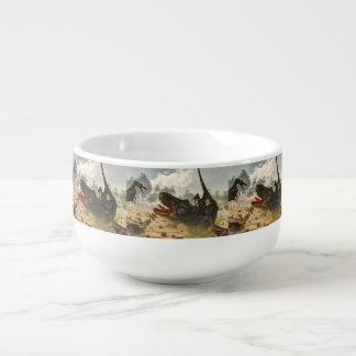 Tarbosaurus attacked by velociraptors soup bowl with handle