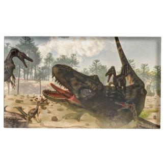 Tarbosaurus attacked by velociraptors table card holder