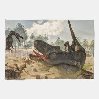 Tarbosaurus attacked by velociraptors tea towels