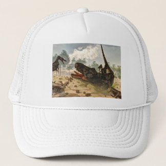 Tarbosaurus attacked by velociraptors trucker hat