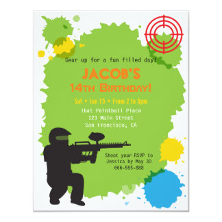 Target Locked Paintball Birthday Party Invitations