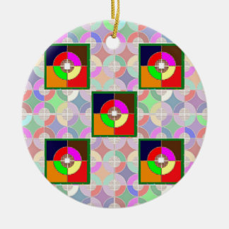 TARGET Practice: Colorful Graphic Symbol Gifts FUN Double-Sided Ceramic Round Christmas Ornament