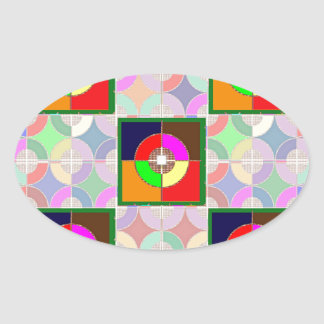 TARGET Practice: Colorful Graphic Symbol Gifts FUN Oval Sticker