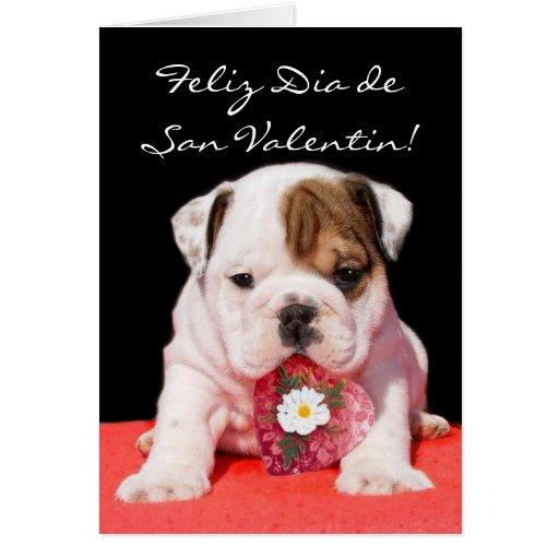 Tarjeta de San Valentin con cachorro bulldog Card