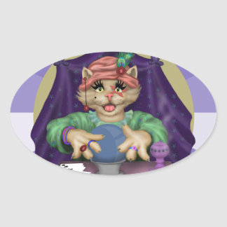 TAROT CAT AutoCollant round Stickers OVAL Stickers