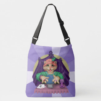 TAROT CAT CARTOON All-Over-Print Cross LARGE Crossbody Bag