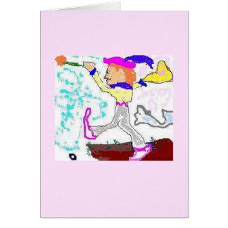 Tarot Fool Greeting (pink background) Card