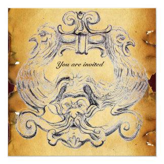 """TAROT  parchment 5.25"""" Square Invitation Card"""