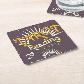 Tarot Reader vintage print Square Paper Coaster