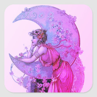 TAROTS/ LADY OF MOON WITH FLOWERS PINK PURPLE SQUARE STICKER