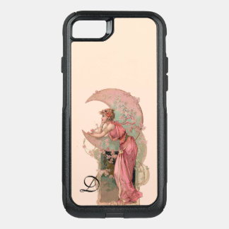 TAROTS/ LADY OF THE MOON,FLOWERS IN PINK MONOGRAM OtterBox COMMUTER iPhone 8/7 CASE
