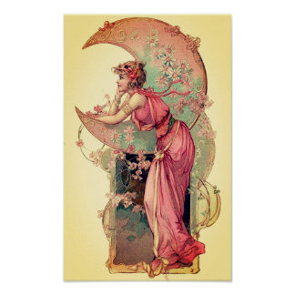 TAROTS / LADY OF THE MOON WITH FLOWERS Pink Yellow Poster