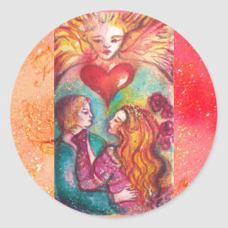 TAROTS LOST SHADOWS,LOVERS Valentine's Day Heart Classic Round Sticker
