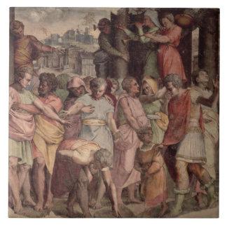 Tarquinius the Proud founding the Temple of Jupite Large Square Tile