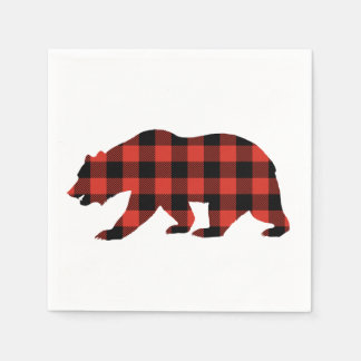 Tartan bear disposable serviette