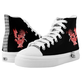 Tartan Black Butterfly Cartoon Elf Fantasy Pink High Tops
