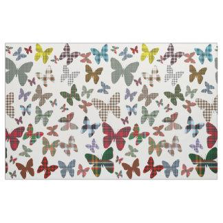 Tartan Butterflies Pattern Fabric