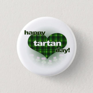 """Tartan Day """"Heart and Thistles"""" 3 Cm Round Badge"""