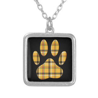 Tartan Dog Paw Print Silver Plated Necklace
