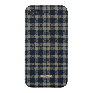 Tartan Gray Blue Pattern Savvy Covers For iPhone 4
